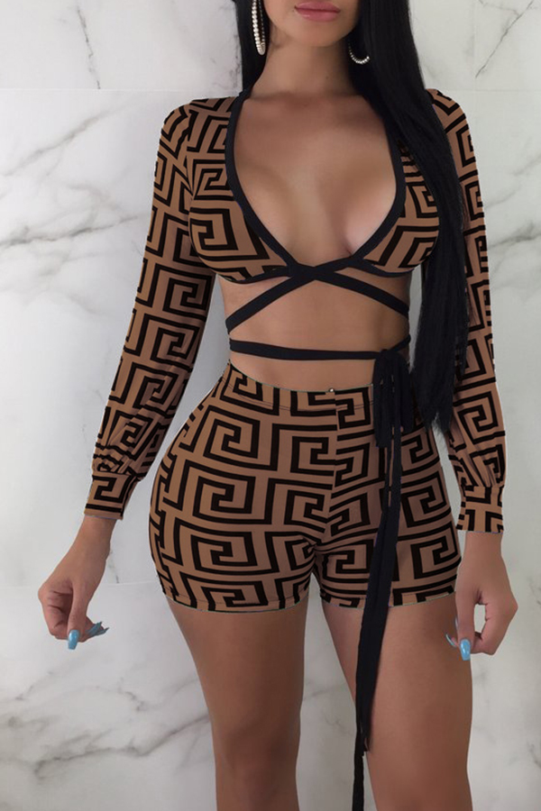 Lovely Euramerican  Printed Lace-up Coffee   Two-piece Shorts Set
