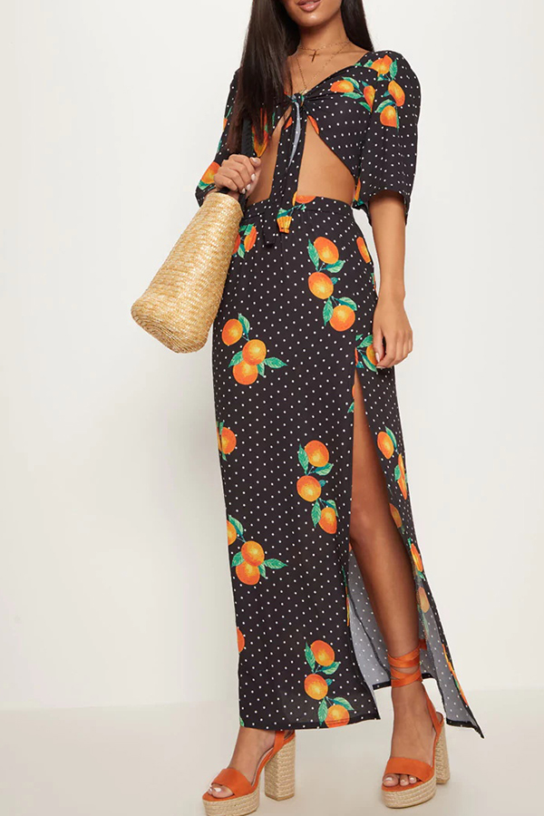 Lovely Casual Orange Printed  Lace-up Black Two-piece Skirts Set