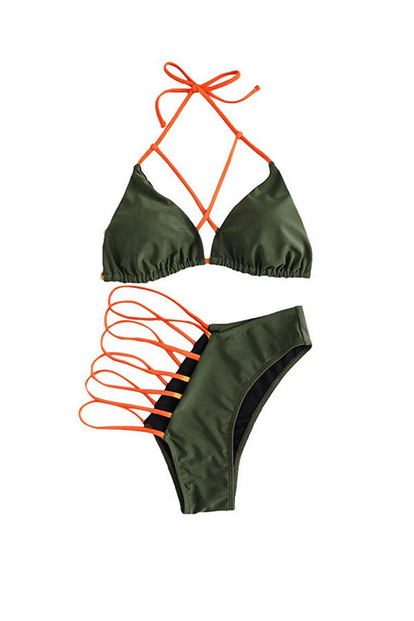 Lovely Casual Hollow-out Army Green   Two-piece Swimwear