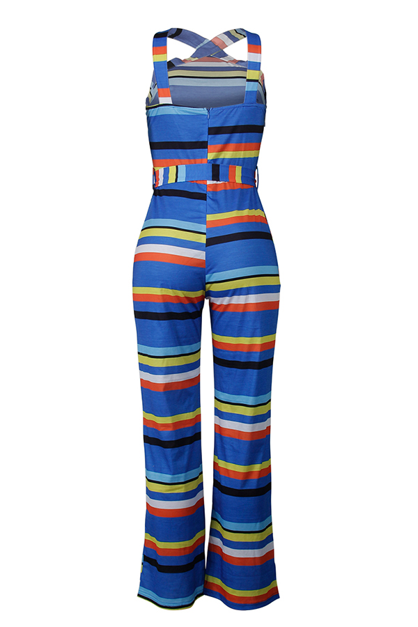 Lovely Euramerican Striped Blue One-piece Jumpsuit (With Belt )