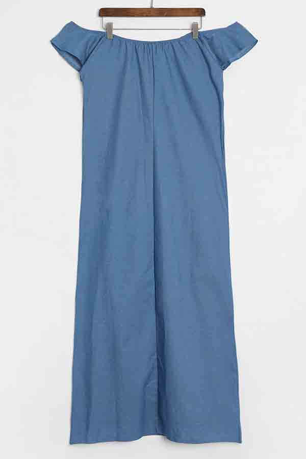 Lovely Casual Bateau Neck Baby Blue Denim Floor Length Dress