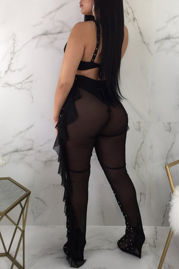 Lovely Sexy Hollowed-out Nail Bead Design Black Qmilch Two-piece Pants Set(With Underclothes)
