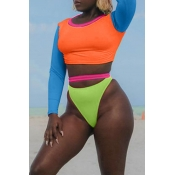 Lovely Euramerican Patchwork Orange Two-piece Swimwear