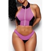 LovelyTrendy Halter Neck Patchwork Pink Two-piece Swimwears
