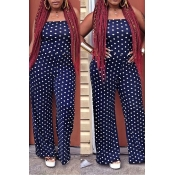 LovelyEuramerican Dots Printed Dark Blue Knitting One-piece Jumpsuit