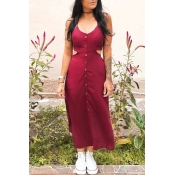 Lovely Casual Bandage Design Wine Red Mid Calf Dre