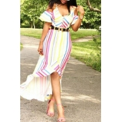 Lovely Euramerican Striped Printed Yellow Mid Calf
