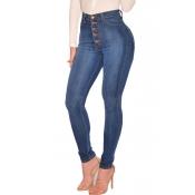 Encantadora Cintura Alta Casual Flaco Azul Profundo Jeans