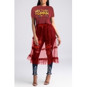 Lovely Street Round Neck Letter Patchwork Red T-shirt