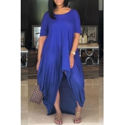 LovelyCasual Asymmetrical Blue Floor Length Dress
