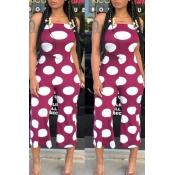 LovelyEuramerican Dots Printed Purple One-piece Jumpsuit