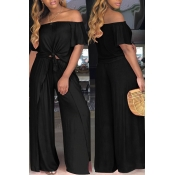 LovelyEuramerican Dew Shoulder  Side Slit   Black Two-piece Pants  Set
