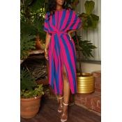 Lovely Trendy Striped Side Slit  Rose Red Mid Cal Dress