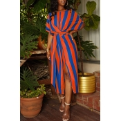 Lovely Trendy Striped Side Slit Orange Mid Cal Dress