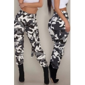 Lovely Casual High Waist Camouflage Printed Black