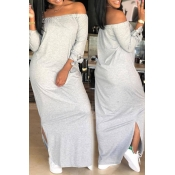 Lovely Casual Dew Shoulder Slit Hem Grey Ankle Length Dress