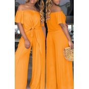 Lovely Euramerican Dew Shoulder Side Slit Orange Two-piece Pants Set