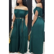 Lovely Euramerican Dew Shoulder Green One-piece Jumpsuit