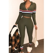 Lovely Casual Patchwork Army Green Omilch Two-piece Pants Set