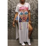 Lovely Street Style Hooded Collar Printed White Ga