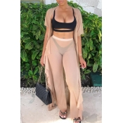 Lovely Casual See-through Apricot Gauze Two-piece