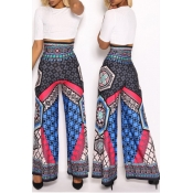 Lovely Ethnic Style Totem Printed Blue Pants
