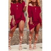 Lovely Casual Knot Design Wine Red Blending Knee L