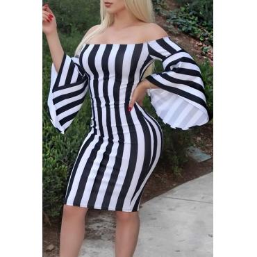 Lovely Sexy Dew Shoulder Striped Black Mini Dress