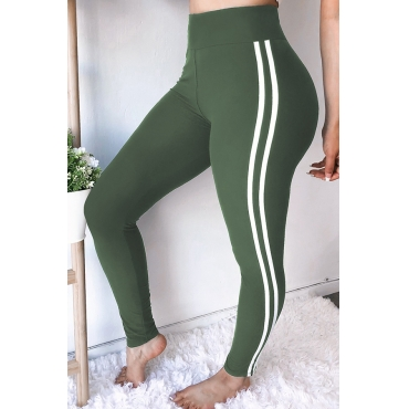 Lovely Chic  High  Waist  Printing  Army Green Skinny  Pants