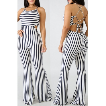 LovelyCasual Backless Hollow-out Striped Black One-piece Jumpsuit