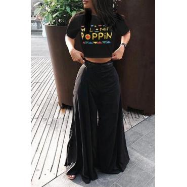 LovelyEuramerican High  Waist Loose Black Two-piece Pants Set