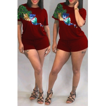 Lovely Euramerican Sequined Decorative Wine Red Two-piece Shorts Set