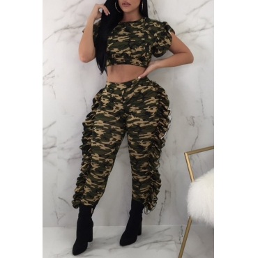 Lovely Leisure Printed Camo Two-piece Pants Set