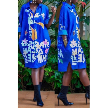 Lovely Euramerican Floral Printed  Blue  Mid Calf Dress