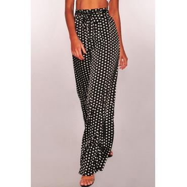 Lovely Leisure Polka Dot  Printed Loose Black Pants