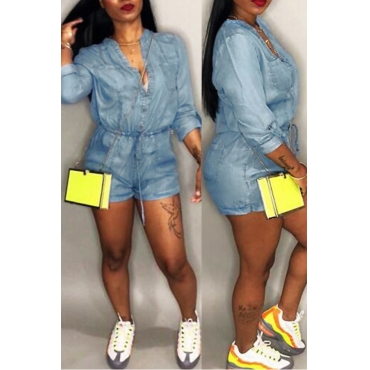 LovelyCasual V Neck Drawstring Blue Denim One-piece Romper