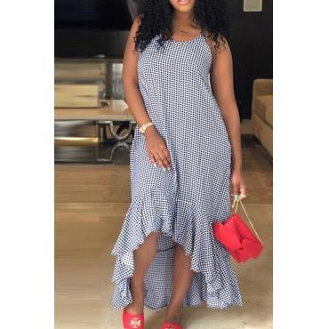 Lovely Casual Polka Dot Spaghetti Strap Irregular Hems Dark Blue Ankle Length Dresses