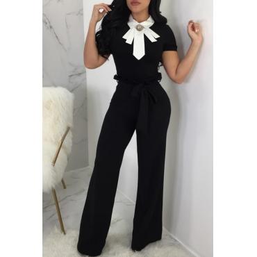 Lovely Casual High Waist Bandage Design Black  Pants