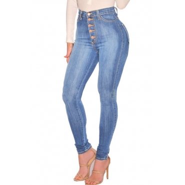 Lovely Casual  High Waist Skinny Baby Blue  Jeans