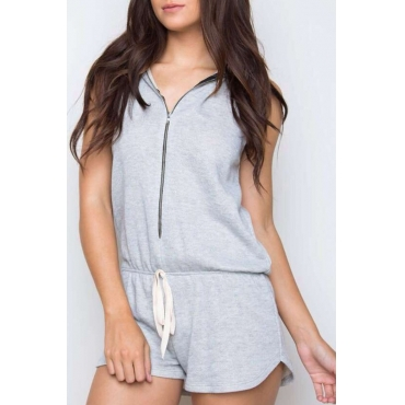 Lovely Euramerican Hooded Collar Grey  One-piece Rompers