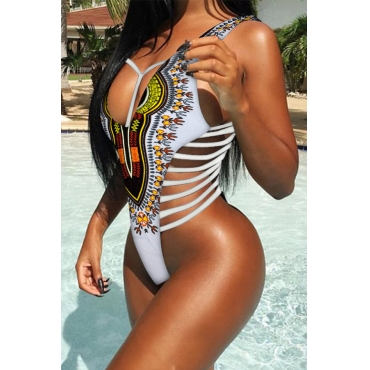 Lovely Casual Hollow-out  Printed  White One-piece Swimwear