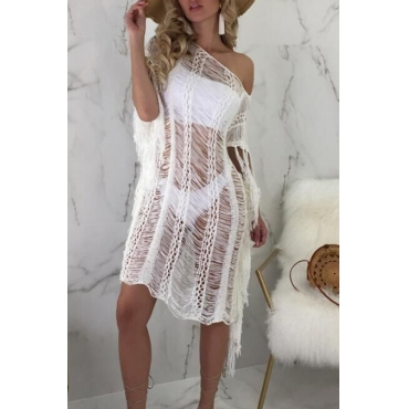 Lovely Casual Tassel Fringed White  Cover-up