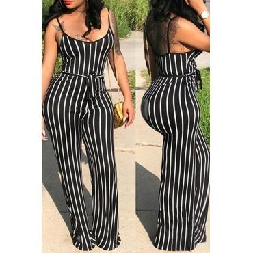 LovelyEuramerican Striped Black One-piece Jumpsuit(With Belt )