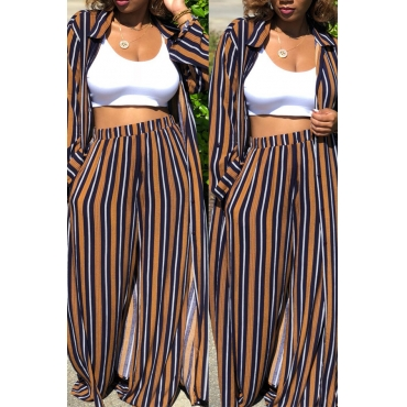 Lovely Casual  Striped  Loose Coffee Two-piece Pants Set