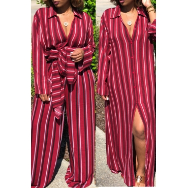 Lovely Casual  Striped  Loose Red Two-piece Pants Set