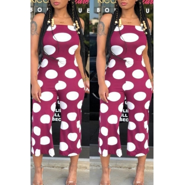 Lovely Euramerican Dots Printed Purple One-piece Jumpsuit