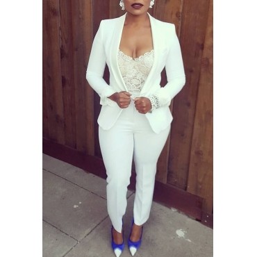 Lovely  Trendy  Work White  Two-piece Pants Set