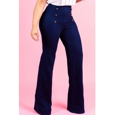 LovelyCasual Flared Legs Blue  Jeans (With Zipper In The Back )