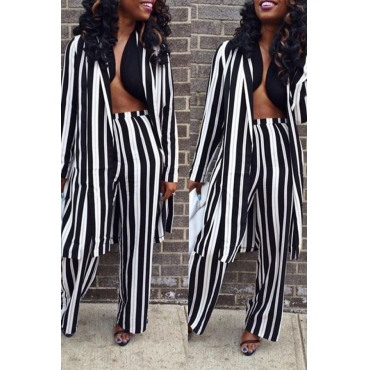 Lovely Euramerican Striped Black Two-piece Pants Set