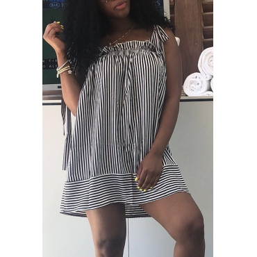 Lovely Casual Shoulders Lace-up Striped Black Mini  Dress